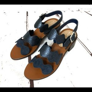 MARC FISHER Midnight Blue Leather Sandals 5 Medium